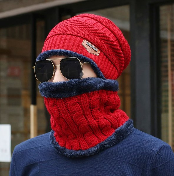 Red Winter Hats for Men with Matching Neck Warmer Soft,Warm Unisex