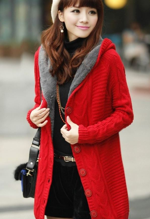 Rsslyn Solid Red Color Hooded Cardigan with Super Smooth Faux Fur Thick Lining Red Winter Jackets for Women