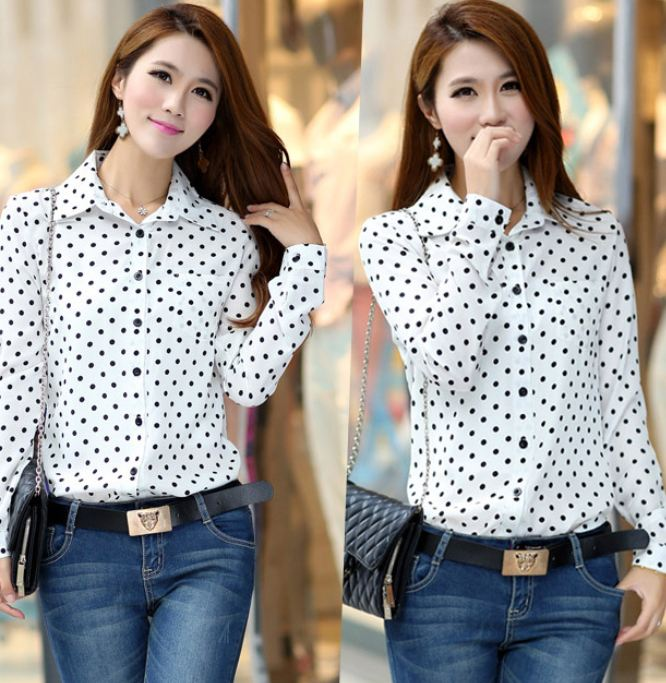 Polka Dots Blouse Long Sleeve White Polka Dots Country Blouses-White Blouses