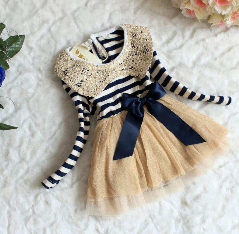 12 Months Infant Dress Stripe Dresses Navy Blue for Girls Sailor Girls Dress