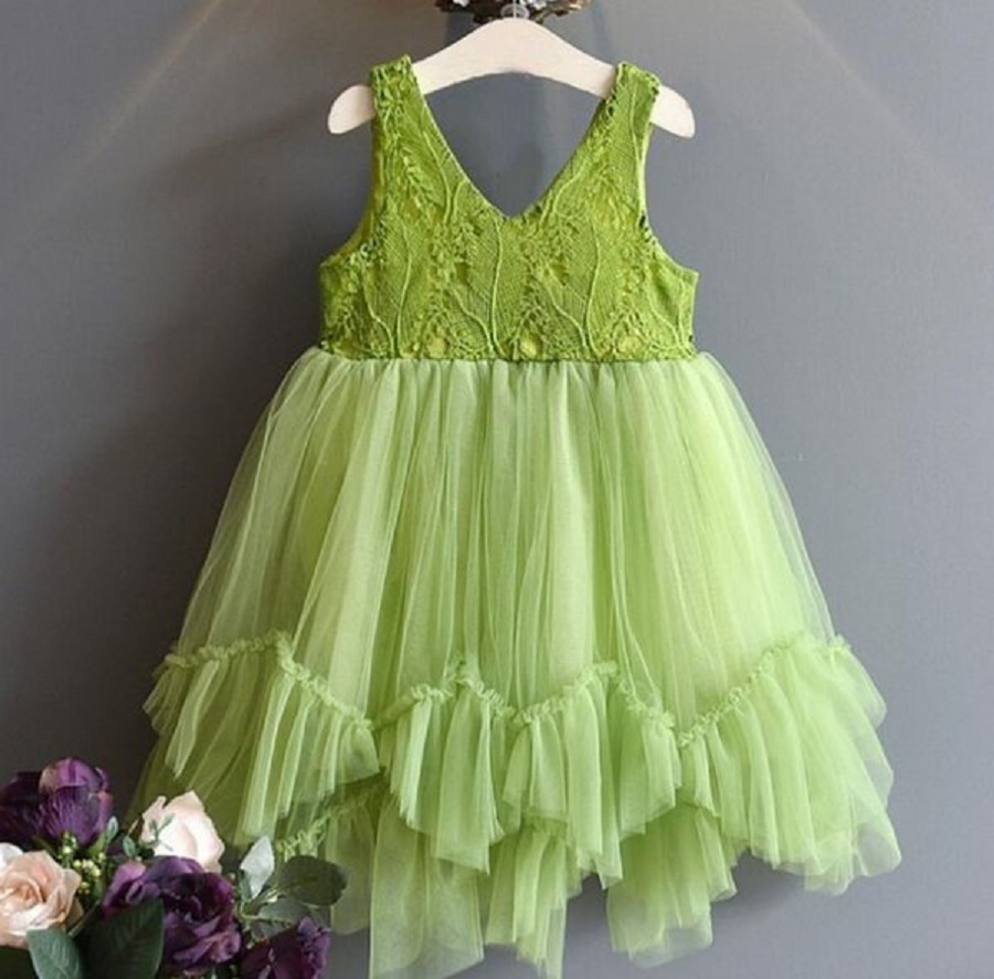 Pretty Green Dresses for Summer Girls Tutu Dress Spring Theme Spring Time Dress for 3T,4t,5t,6t