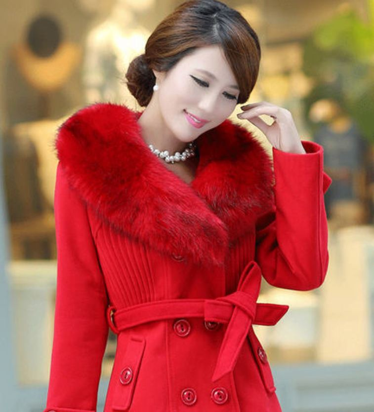 Red Coat Rich Fur Collar Winter Over Coats Red Woolen Jackets