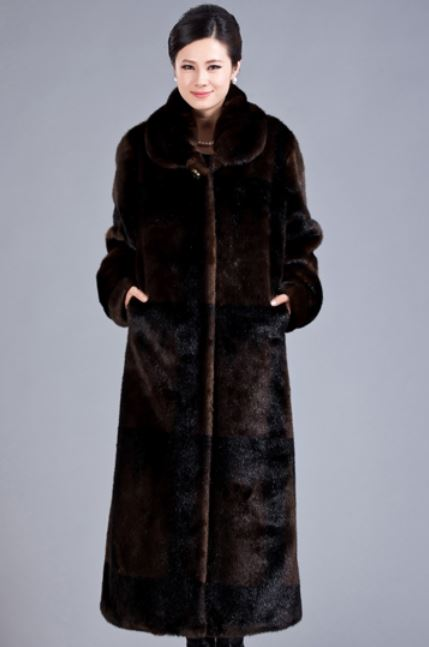 Chocolate Brown Overcoat Thermal Winter Ultra Long Faux Mink Fur Overcoat