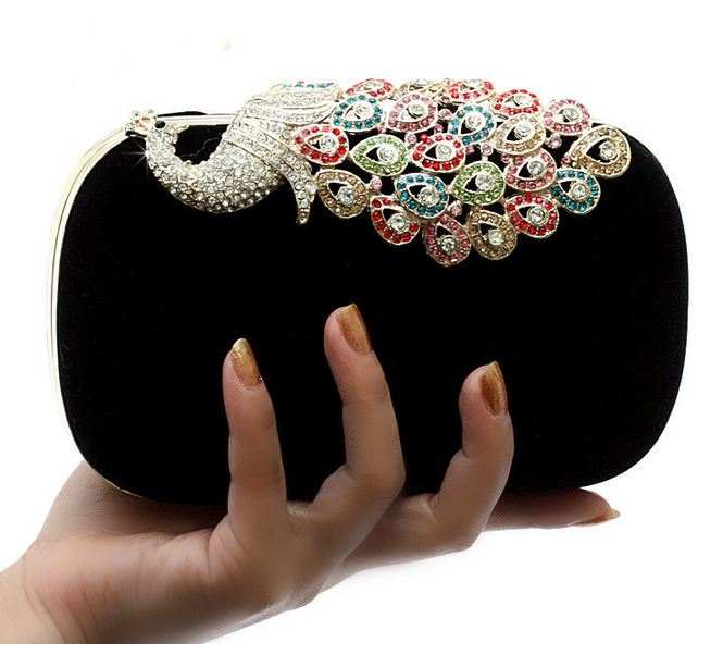 Black Alloy Diamond Peacock Wedding Banquet Black Clutch
