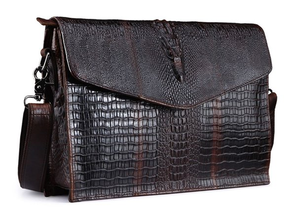 Brown Clutch Crocodile Skin Cow Leather Genuine Leather Tote Purse Shoulder Bags for Women Leather Purse
