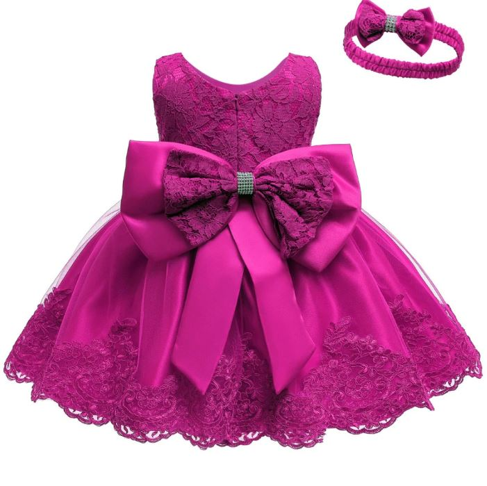 Magenta Dress for Baby Girls with Matching Magenta Headband