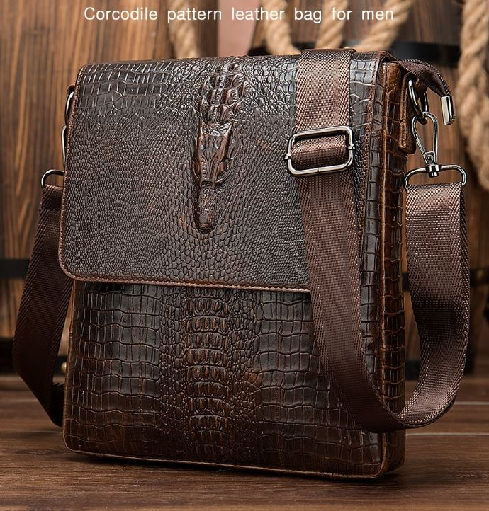Crocs Messenger Leather Bags for Men Brown Leather Satchel for Men Small Traveling Bag for Men Leather Crossbody Bags for Men