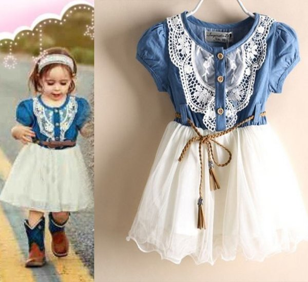 6-9 Months Rodeo Outfit Little Cowgirls Tutu Dress Denim Embroidery Lace Dress
