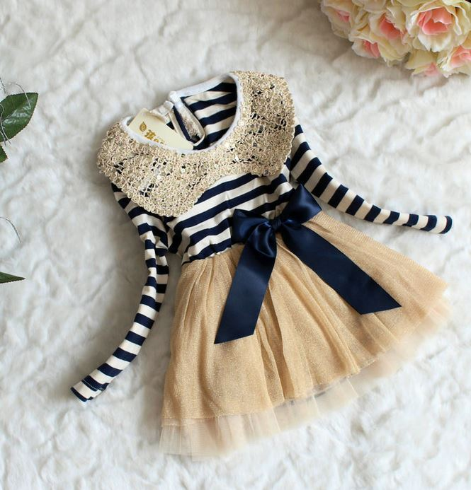 1de75efb313d 6-9 Months Infant Dress Stripe Dresses Navy Blue For Girls Sailor ...