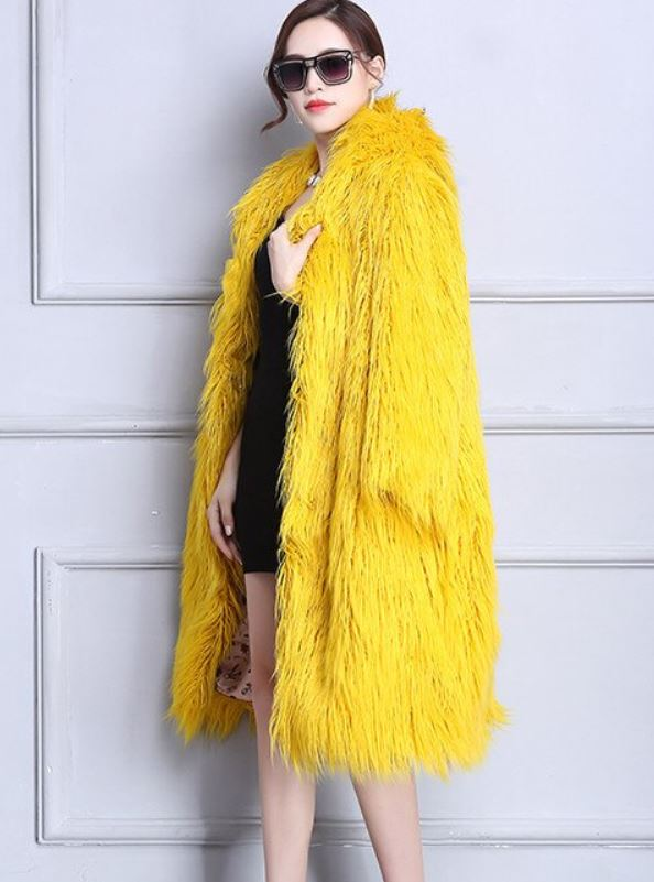 New Arrival Shaggy Trench Coats for Wifey Gift for Girlfriend Shaggy Lamb Fur Jackets with Free Touch Screen Gloves