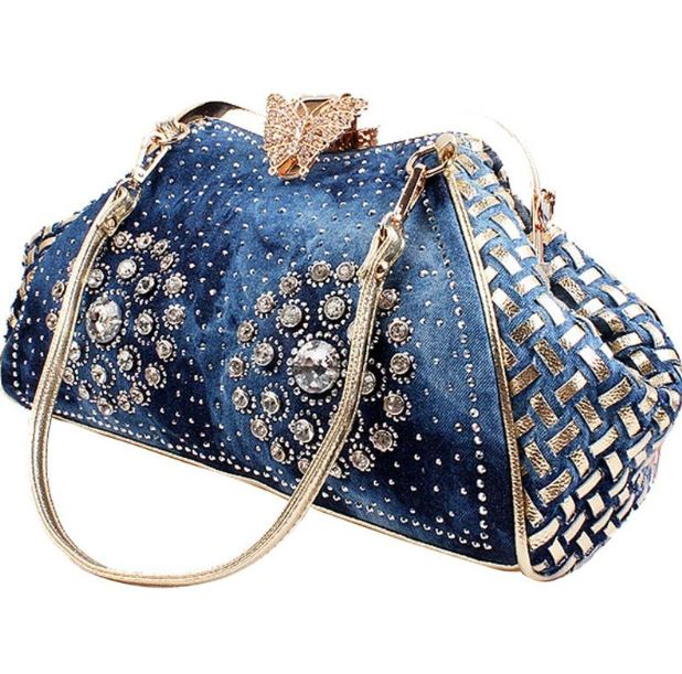 Blue Denim Handbags for Women Basket Weave Handbags Rivet Style Free Shipping Fashion Denim Bags