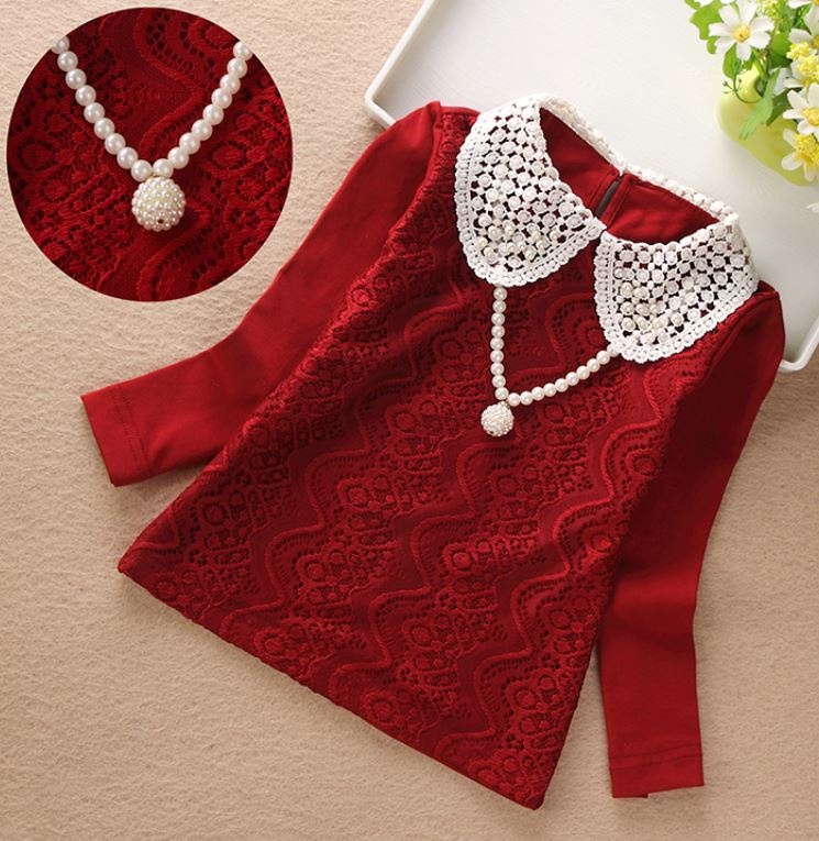Red Blouse for Girls Red Tees for Girls Birthday Gift Tops for Girls with Pearl Necklace Ready to Ship Burgundy Blouse