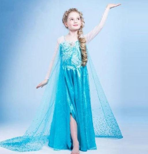 Pretty Frozen Dress For S Princess Anna Blue With Matching Necklace