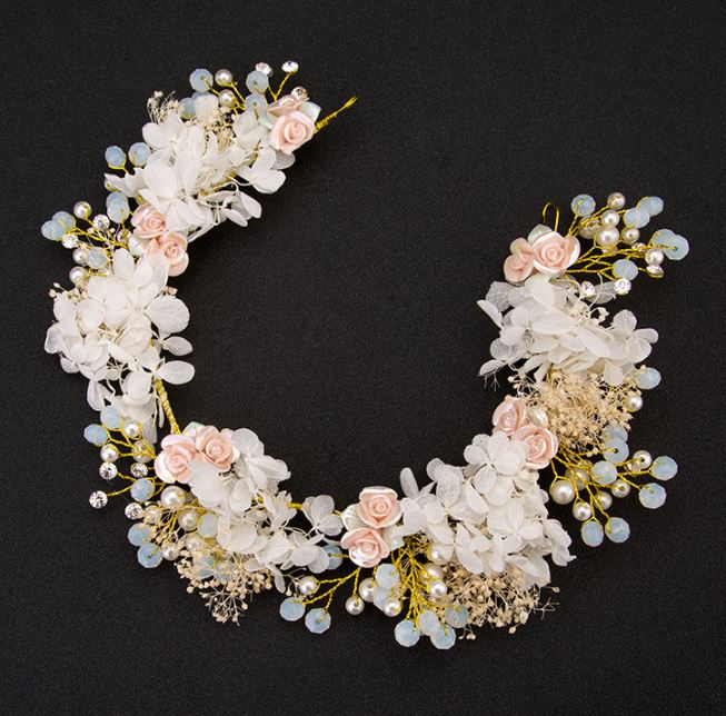 RSS Boutique Ivory Floral Tiaras Wedding Flower Wreath Golden Flower Headpiece Peach Color