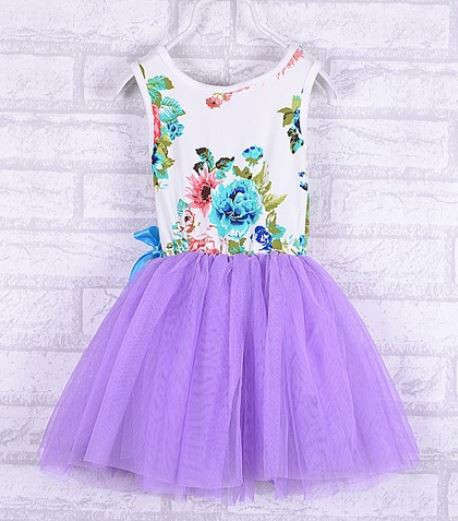 Purple Dress Printed Purple Floral Dress Kids Purple Dress Summer Outfit 12 Months