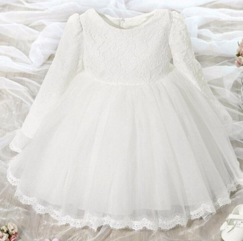 3T White Dress for Girls Embroidery Laces Ready for Shipping