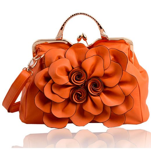 Orange Purse Shoulder Bag Fashion Show Flower Handbags For Women Leather Bags
