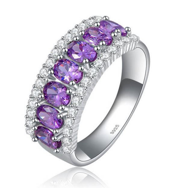 Purple Wedding Rings CZ Micro Pave Platinum Grade AAA Purple Rings for Women
