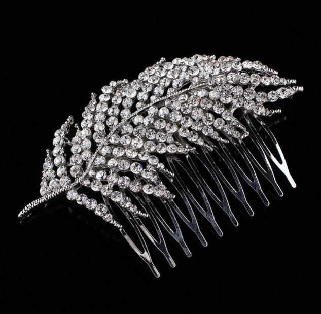 RSSLyn Silver Hair Combs for Women Bridal Hair Accessories-Leaf Hair Comb Wedding Comb Rhinestone Crystal Hair Combs