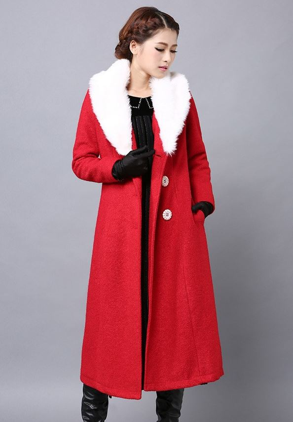 Red Trench Coats Winter Overcoats Plus Sizes, 2XL,3XL,4XL,5XL