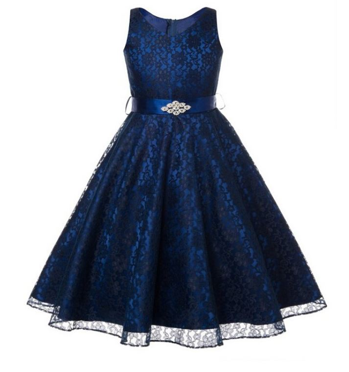 S Navy Blue Dress Prom Lace Dresses Wedding Birthday Formal Wear