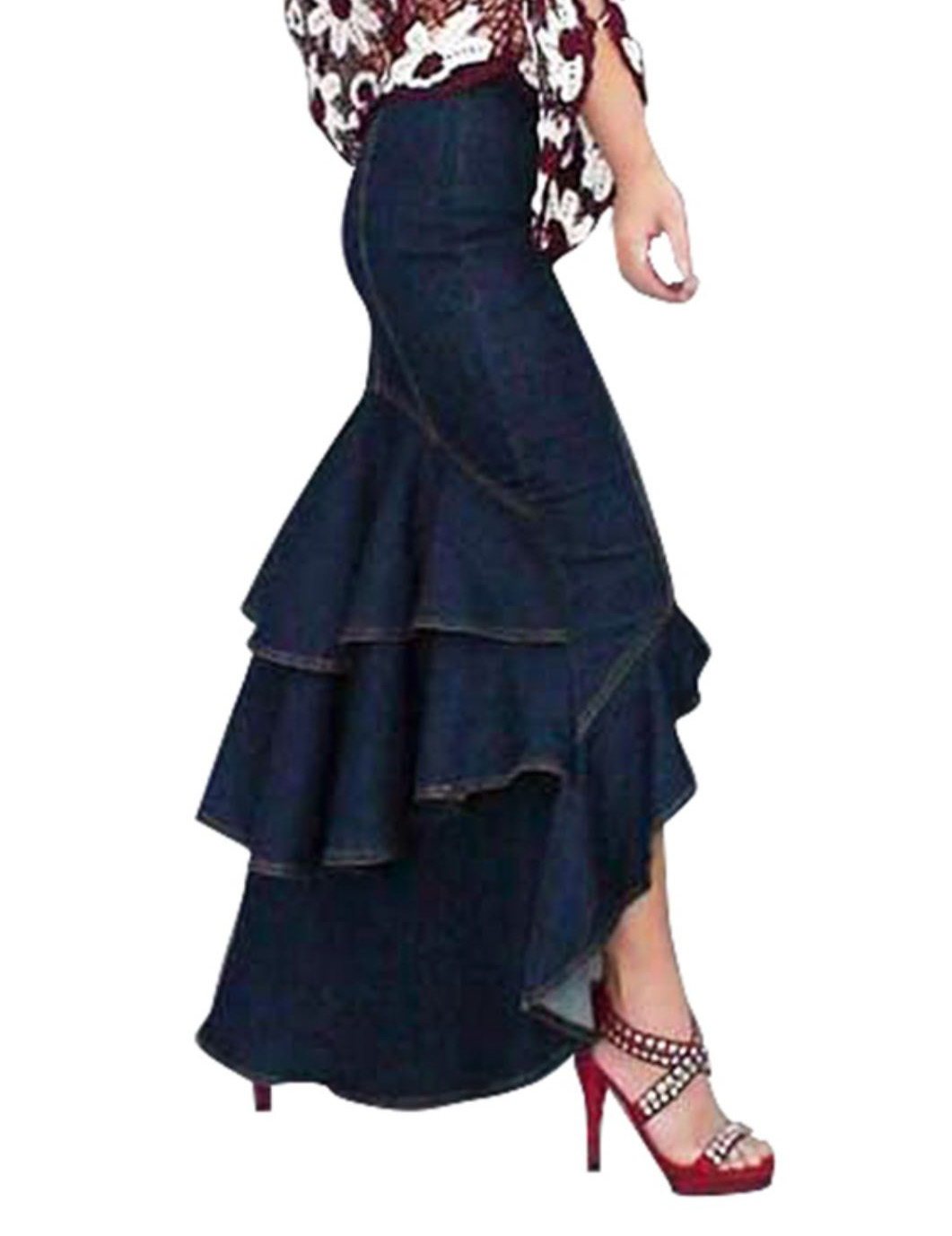 RSSLyn Size 6-8 Long SkirtvSkirts Fashion Denim Skirts for Women with Free Denim Sizes S-2XL Ruffled Skirts with a Dove Tail Ruffled-Denim Mermaid Skirts