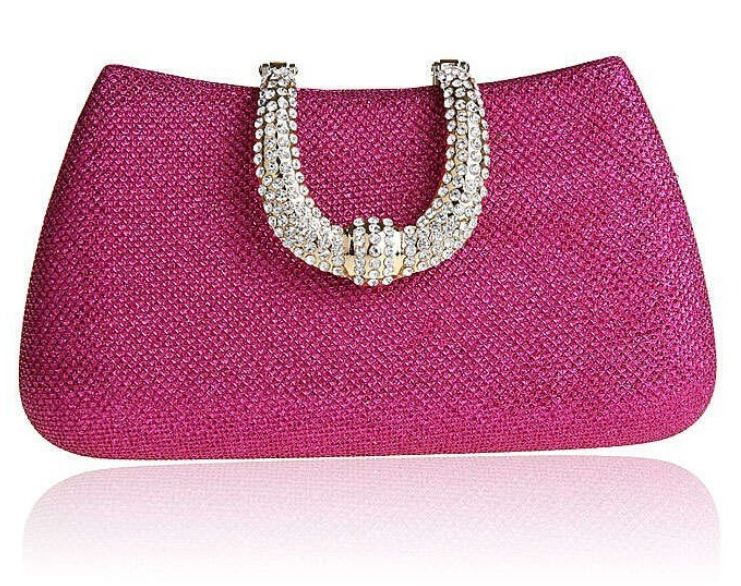 Pink Purse Pink Clutch Wedding Pink Handbags with Faux Diamonds