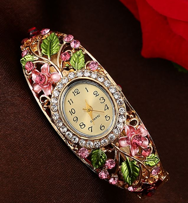 Purple Quartz Watch Oval Shape Wristwatches Floral Flower Watch