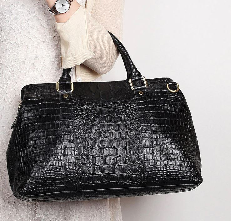 Vogue Black Leather Bags for Women Black Genuine Leather Traveling Bags for Women Embossed Croc Skin Leather Bags