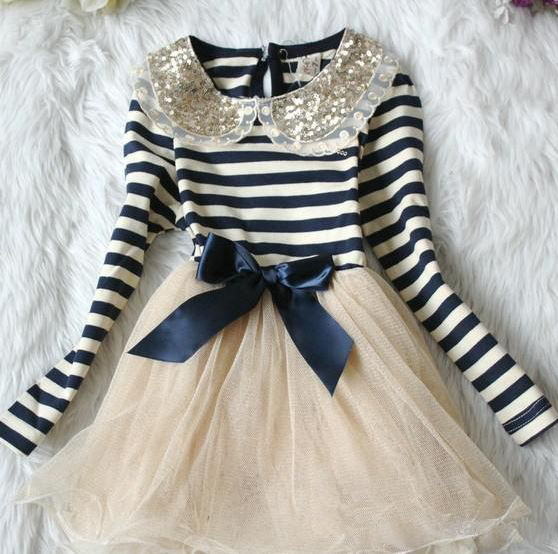 Blue Dress with Ivory Stripes Dresses for Girls