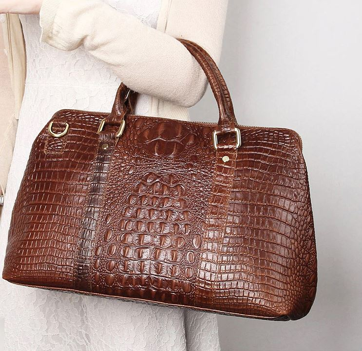 New Arrival Embossed Alligator Skin Grain Leather Handbags Tote Bags for Women Vogue Brown Leather Bags for Women
