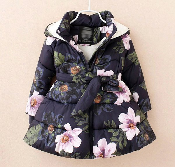 Navy Blue Floral Winter Jacket for Toddler Girls 4T Hooded Winter Trench Coats Ready for Shipping