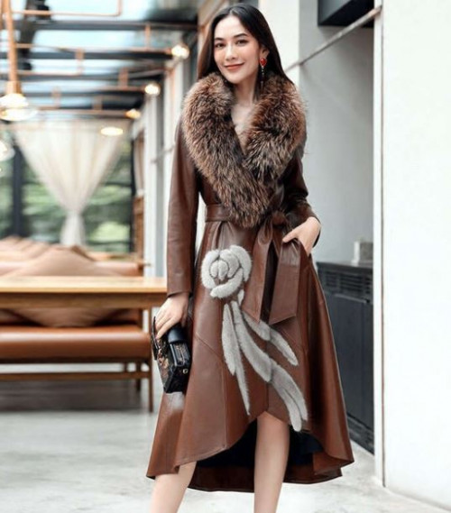 RSS Boutique Luxury High Quality Brown Leather Trench Coats Fox Fur Women's Leather Coats