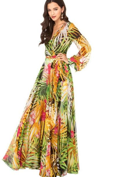 f5d2c2aab63d Printed Summer Maxi Dress Green Dress Leaf Leaves Prints Sheer Long Sleeve  Flowy Maxi Dresses