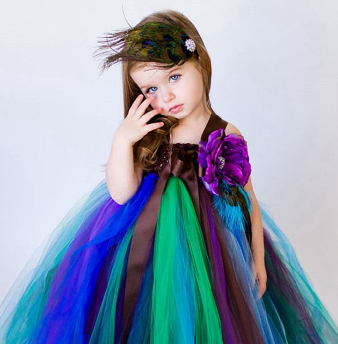 Ready to Ship 12-24 Months Peacock Tutu Dress for Toddler Girls with FREE Peacock Headband
