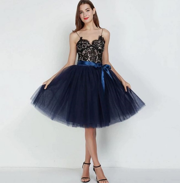 Rsslyn Navy Blue Tutu Skirt for Women