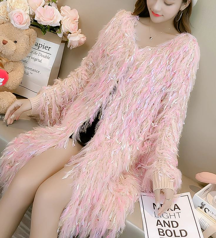 Elegant Ivory Sweaters with FREE Hat Fringe & Feathers Luxury Nude Pink Cardigan for Women