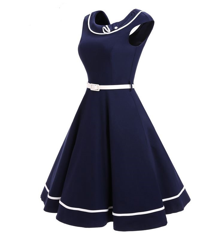 Navy Sailor's Wife Dress Navy Sailor's Mom Dress with White Belt READY TO SHIP Cotton Navy Blue Slash off Shoulder Dress