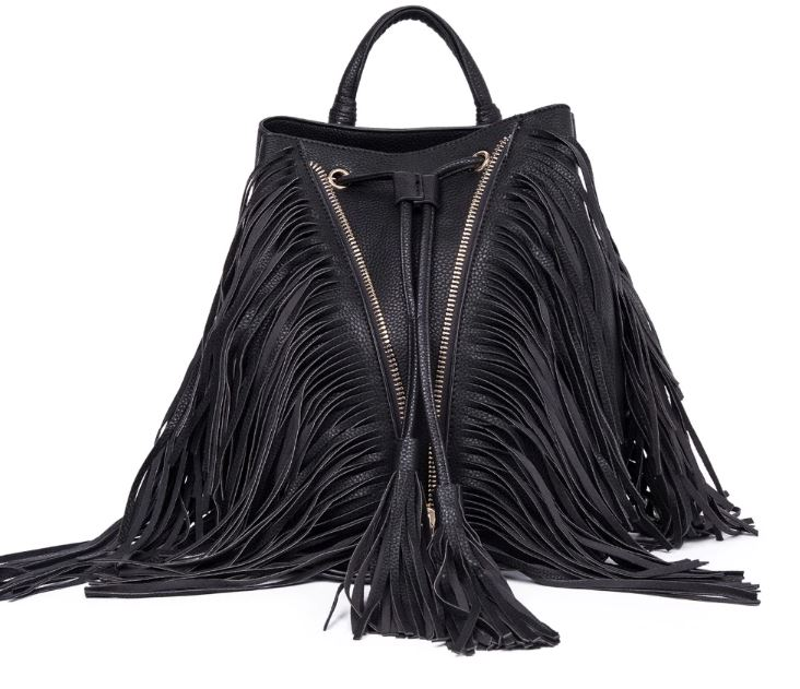 Traveling Bags with Unique V-Zip Black Tassels Bags ON SALE Happy Women Black Backpacks 2019 RSS Boutique Convertible Backpacks