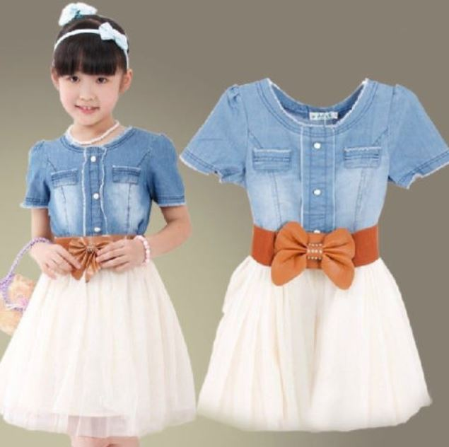 d3ef59ba1b0 Denim Dress for Toddler Girls Cowgirl Outfit Casual Tutu Dresses Summer  Dresses