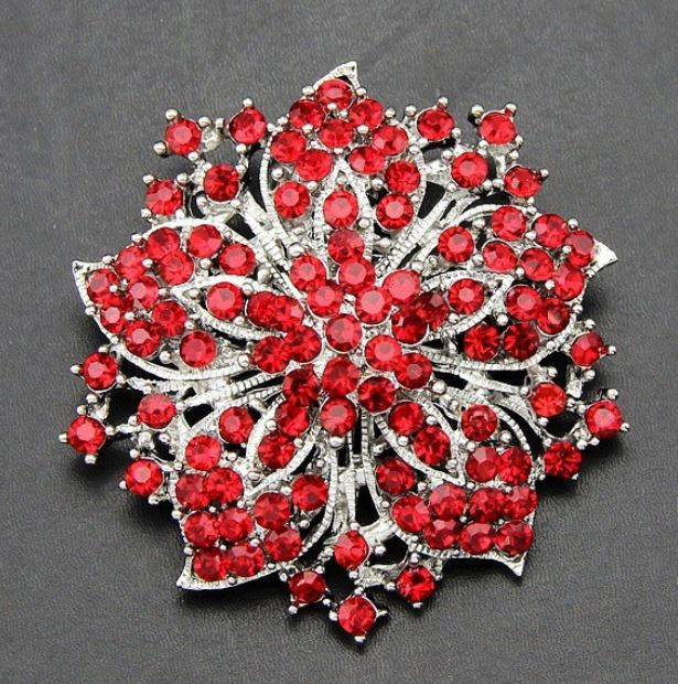 Red Star Brooch Wedding Prom Party Red Brooch Pins Accessories for Men and Women