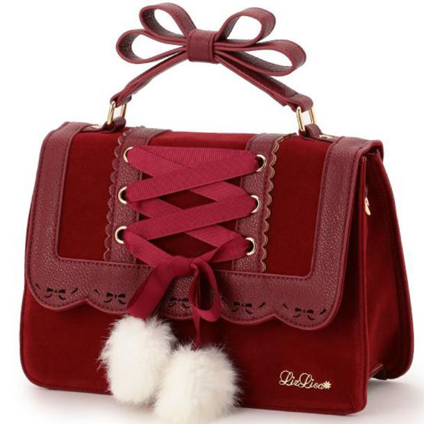 Lady in Red Sweet Pretty Red Backpacks for Women Red Shoulder Bags for Students Red Bags with Bow and Laces