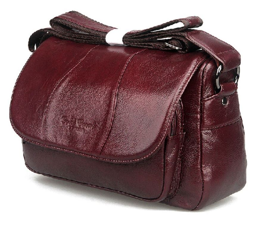 Women Authentic Genuine Leather Red Bags Cowhide Leather Crossbody Deep Red Bag