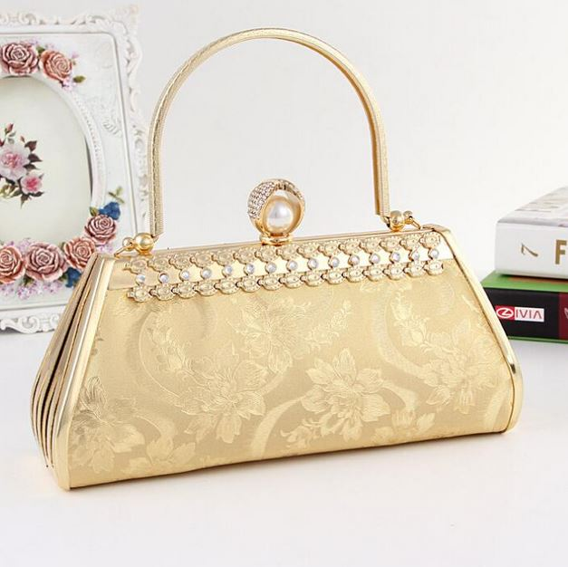 Bridal Evening Purse Golden Clutch Crystal Mother Of The Bride Handbags