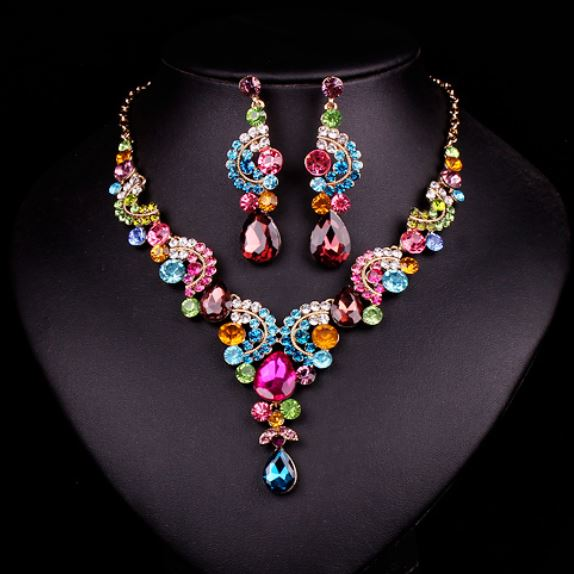 Womens Necklaces for Mother of the Bride Jewelry Sets Peacock Jewelries Multicolored Necklace with matching Earrings