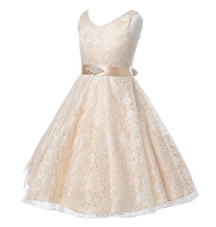 8c99923249c Ivory Champagne Dress Prom Dresses Wedding Birthday Formal Wear Teen Girls