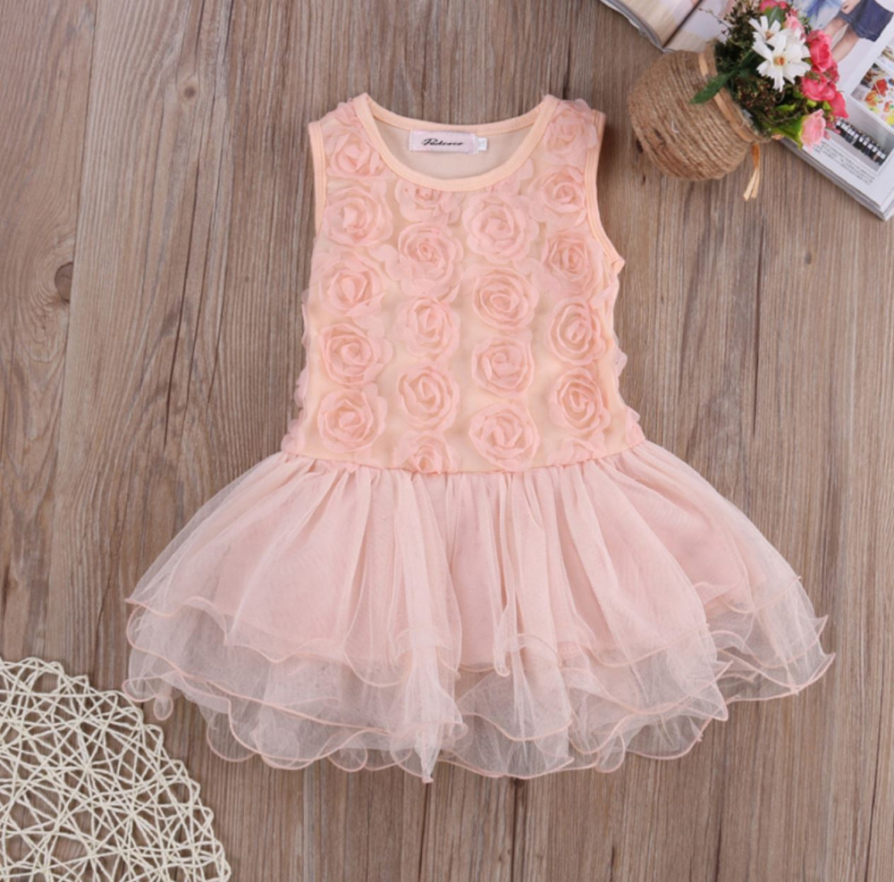 Sleeveless Floral Dress for Girls Infant Girls Dress Pink Dress for Girls Tutu Dress Rosette Summer Dress