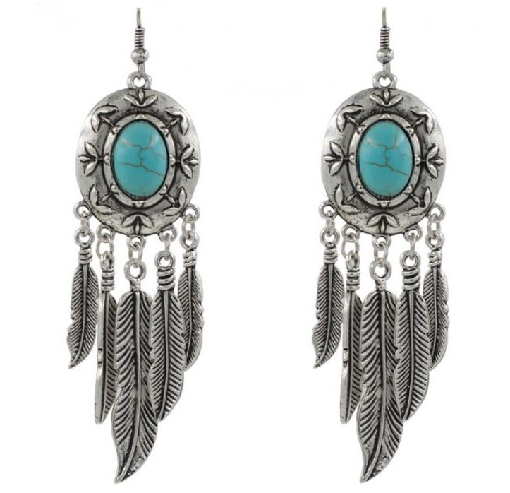 Turquoise Earrings tibetan silver antique turquoise feather statement earrings