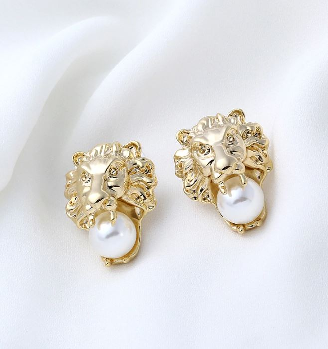 Golden Earrings for Women Lion Head with Pearl-New Trendy Lion Earrings