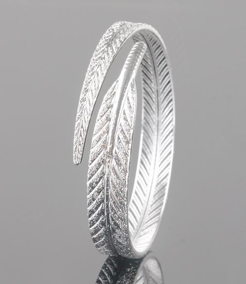 adjustable 999 fine silver bracelet leaf feather silver bracelets for women